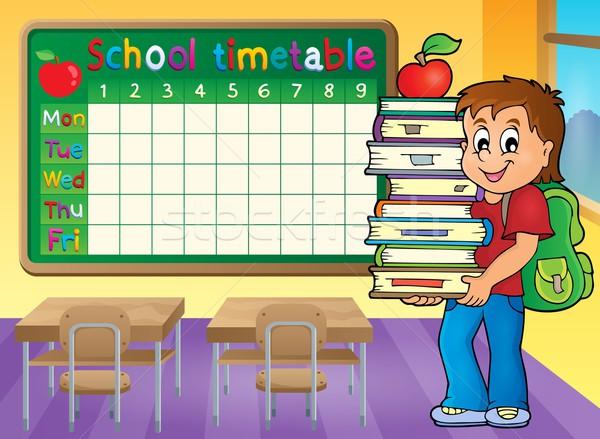 школы расписание мальчика книгах улыбка Сток-фото © clairev
