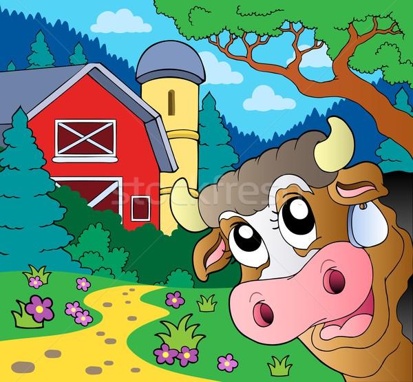 Farm theme with lurking cow Stock photo © clairev