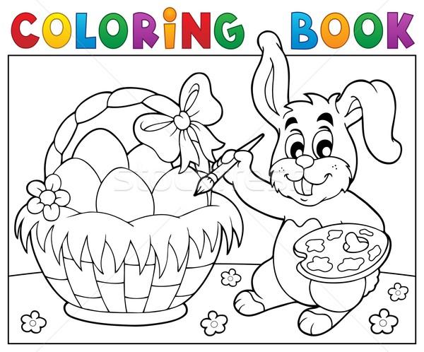 Boyama Kitabı Tavşan Boyama Yumurta Bahar Kitap Vektör
