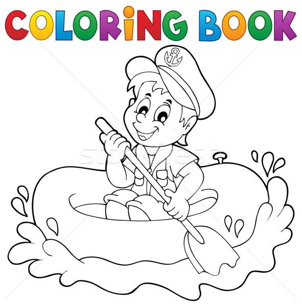 Boyama Kitabı Küçük Denizci Su Kitap çocuk Vektör
