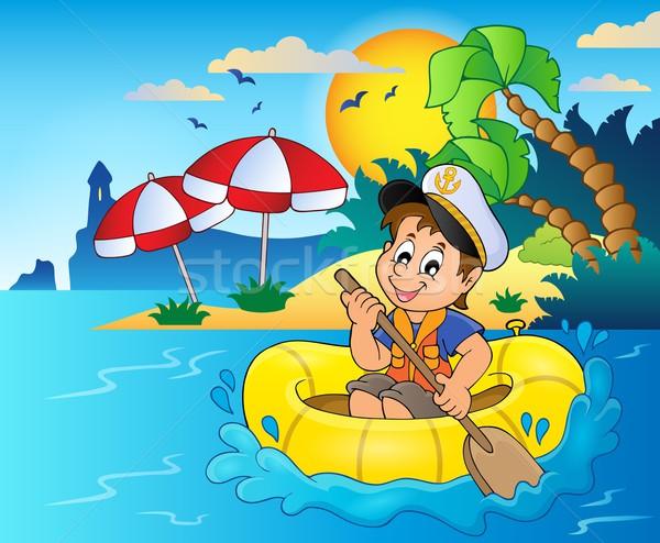 Mały marynarz obraz wody słońce dziecko Zdjęcia stock © clairev