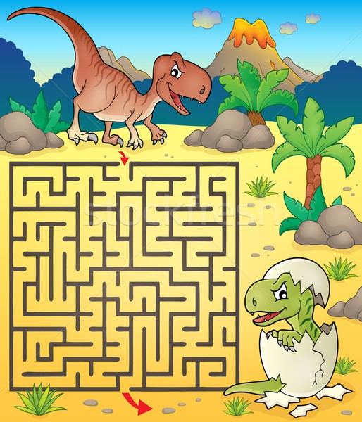 Maze 3 with dinosaur theme 2 Stock photo © clairev