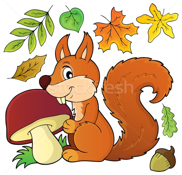 Squirrel with mushroom theme image 1 Stock photo © clairev