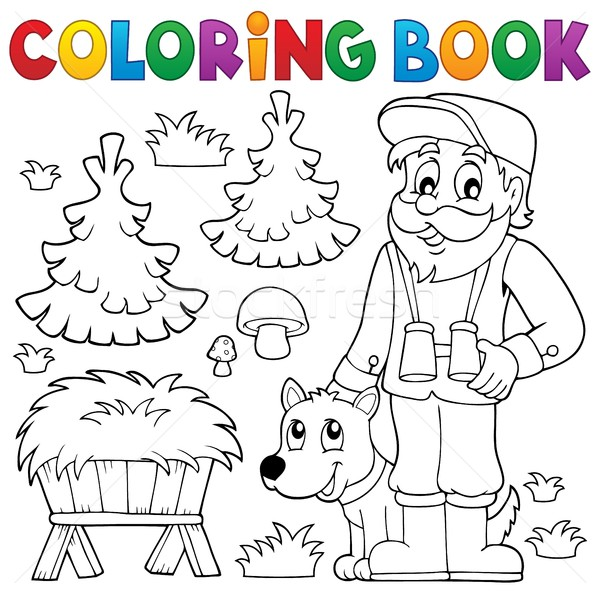 Coloring book forester theme 2 Stock photo © clairev
