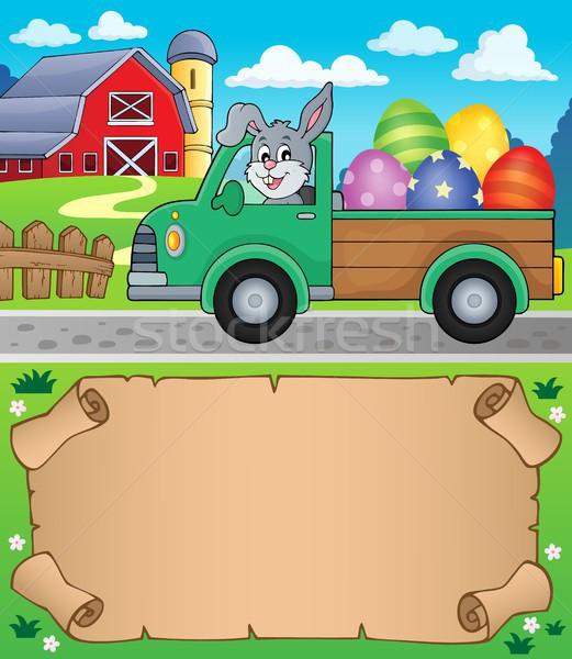 Kicsi pergamen húsvét teherautó papír autó Stock fotó © clairev