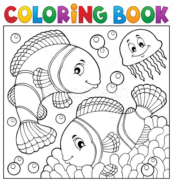 Coloring book clownfish topic 3 Stock photo © clairev
