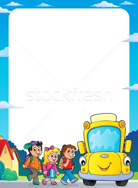 Gyerekek iskolabusz keret mosoly szem arc Stock fotó © clairev