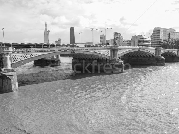 реке Темза Лондон панорамный мнение черно белые Сток-фото © claudiodivizia