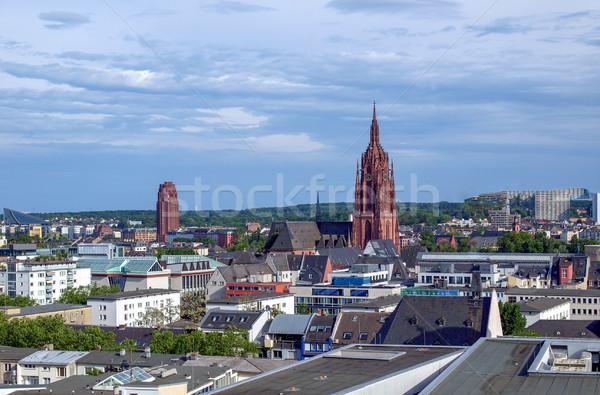 Frankfurt délelőtt fő- Németország légifelvétel Stock fotó © claudiodivizia