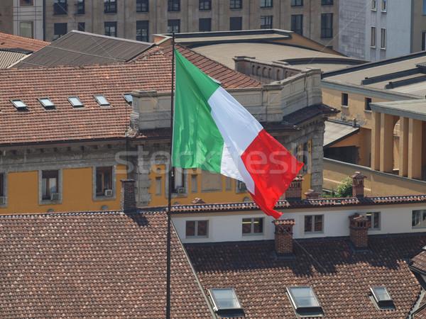 Drapeau italien Italie toit royal palais milan Photo stock © claudiodivizia