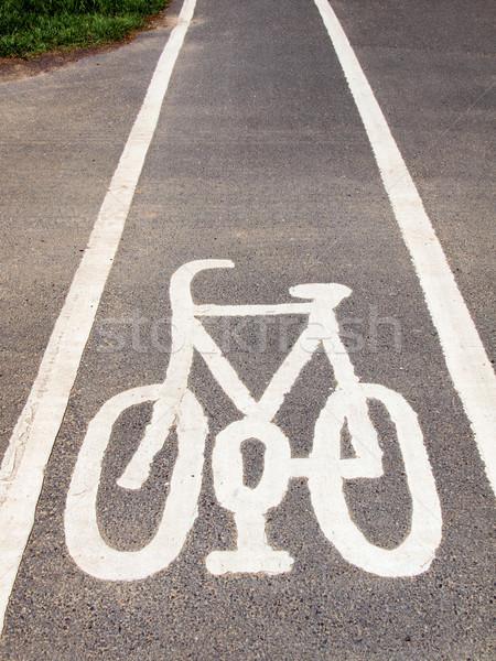 Bicikli sáv felirat bicikli Stock fotó © claudiodivizia