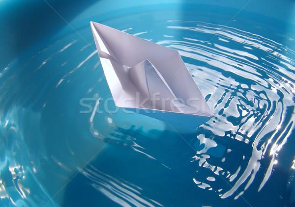 Stockfoto: Papier · schip · speelgoed · echt · water · vijver
