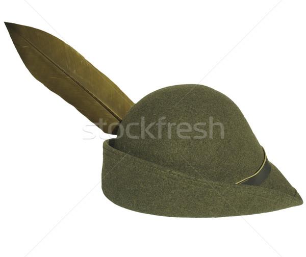 Alpine kapak bağbozumu yeşil şapka tüy Stok fotoğraf © claudiodivizia