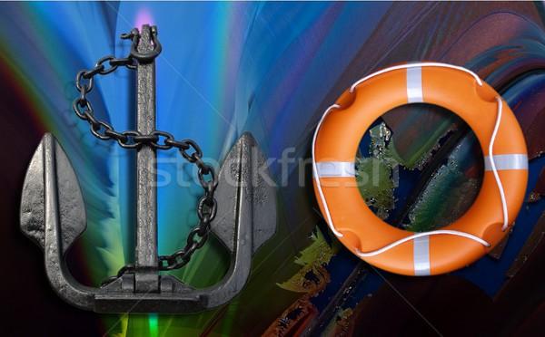 Lifebuoy and anchor Stock photo © claudiodivizia