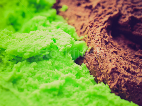 Retro look Mint chocolate ice cream Stock photo © claudiodivizia