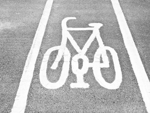 Stock fotó: Bicikli · sáv · felirat · bicikli