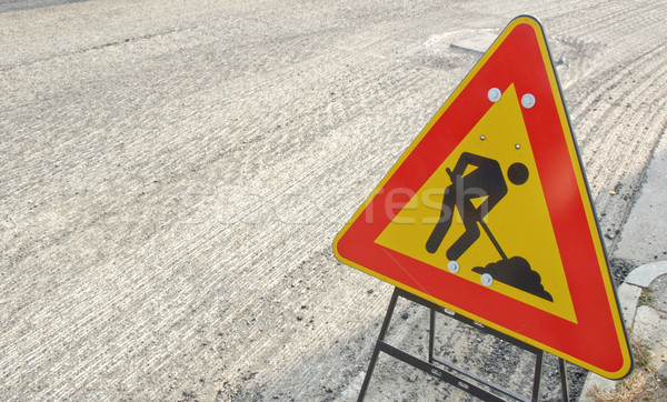Straße Verkehrszeichen Baustelle Gebäude Arbeit Zeichen Stock foto © claudiodivizia