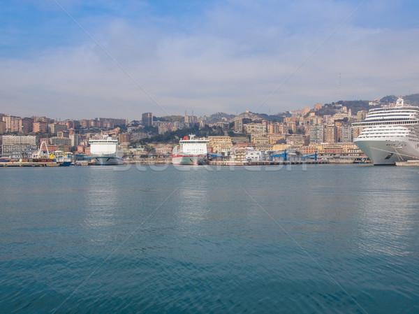 View of Genoa Italy from the sea Stock photo © claudiodivizia
