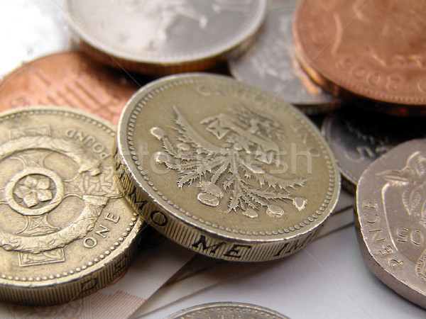 Detail britisch Pfund Münzen Geld hat Stock foto © claudiodivizia