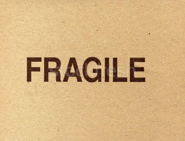 Kırılgan yazılı karton kâğıt imzalamak kutu Stok fotoğraf © claudiodivizia
