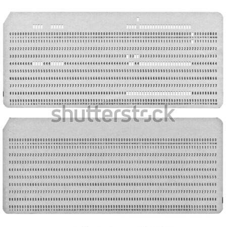 Lyukasztott kártya klasszikus számítógép adattárolás fehér Stock fotó © claudiodivizia