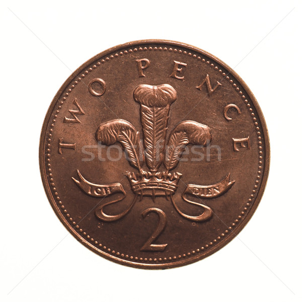 Zwei Münze Pfund Währung Vereinigtes Königreich isoliert Stock foto © claudiodivizia