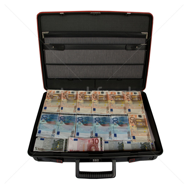 Valise argent euros monnaie main Photo stock © claudiodivizia