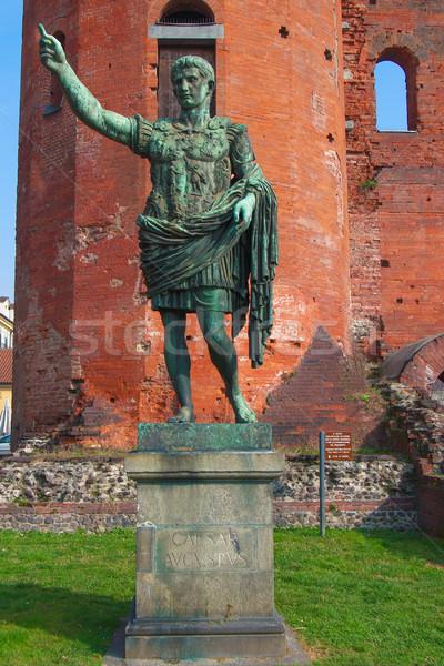 Stok fotoğraf: Sezar · heykel · towers · İtalya · Retro