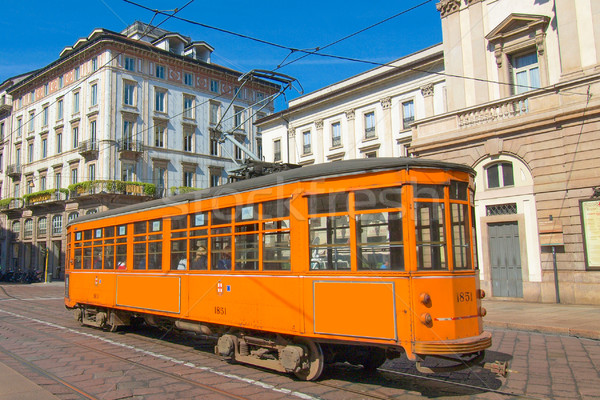 Vintage tram, Milan Stock photo © claudiodivizia