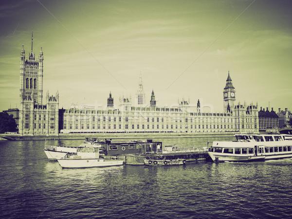 Klasszikus szépia házak parlament retro Westminster Stock fotó © claudiodivizia