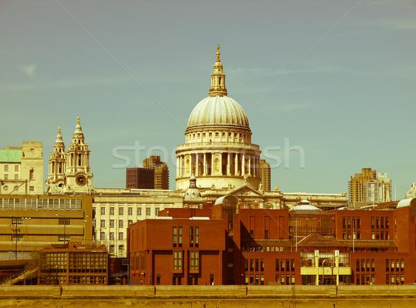 Retro looking St Paul Cathedral, London Stock photo © claudiodivizia