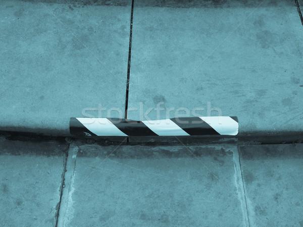 Lépcsőfeljáró részlet lépcső hideg felirat kék Stock fotó © claudiodivizia