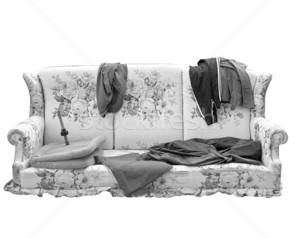 Alten Sofa Kleidung benutzt armen Obdachlosen Stock foto © claudiodivizia