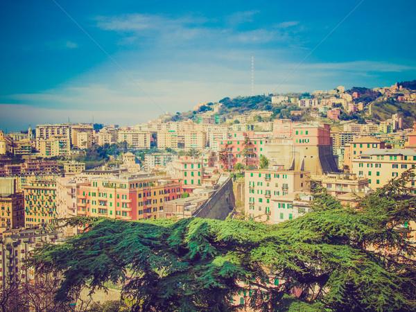 Retro look View of Genoa Italy Stock photo © claudiodivizia