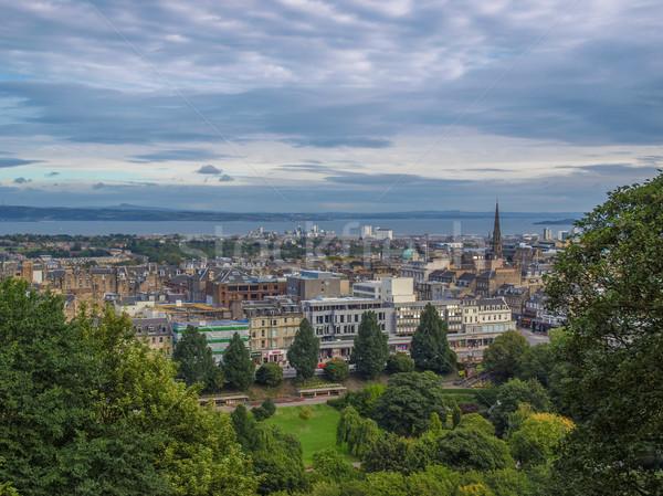 Edinburgh kilátás város Skócia panoráma ősi Stock fotó © claudiodivizia