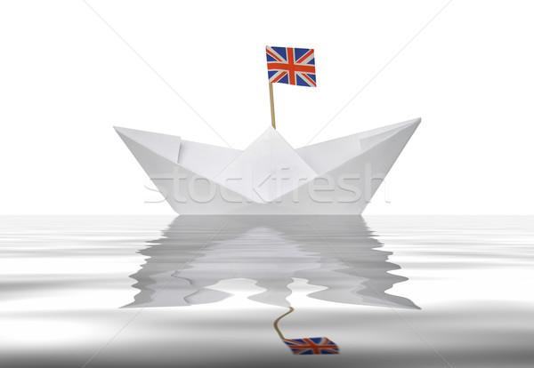 Photo stock: Papier · bateau · jouet · union · jack · mer · fond