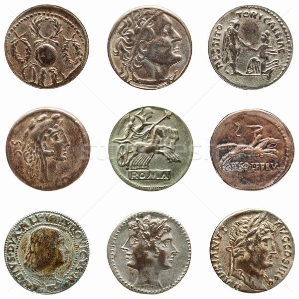 Foto stock: Romana · moneda · detalle · macro · antigua · dinero