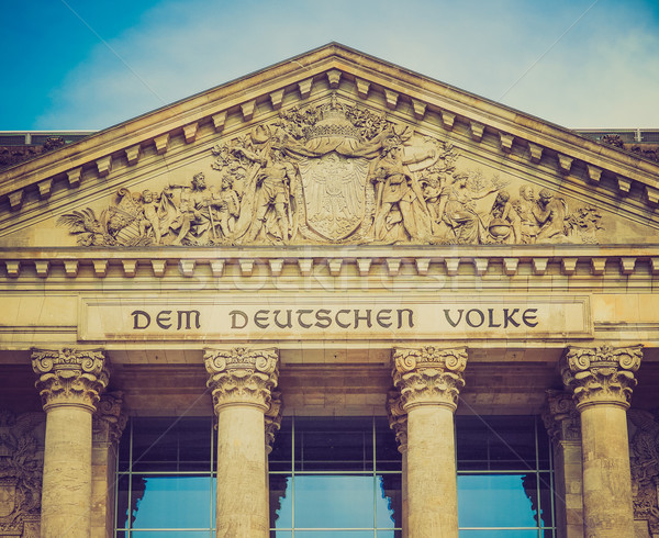 Retro look Reichstag Berlin Stock photo © claudiodivizia
