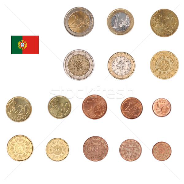 Stock fotó: Euro · érme · Portugália · érmék · mindkettő · nemzetközi