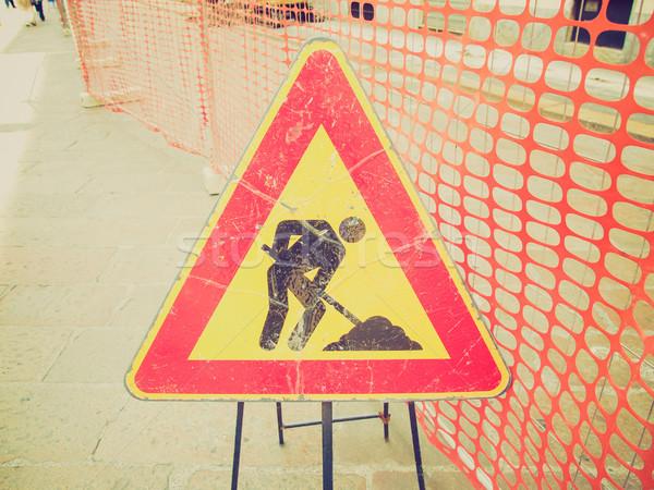 Retro look Roadworks sign Stock photo © claudiodivizia