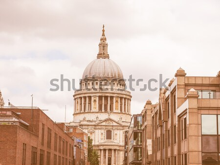 Retro looking St Paul Cathedral, London Stock photo © claudiodivizia