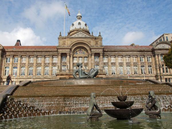Tér Birmingham Anglia Egyesült Királyság klasszikus szökőkút Stock fotó © claudiodivizia