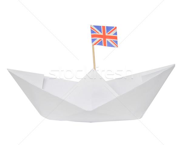 Paper ship with UK Flag Stock photo © claudiodivizia