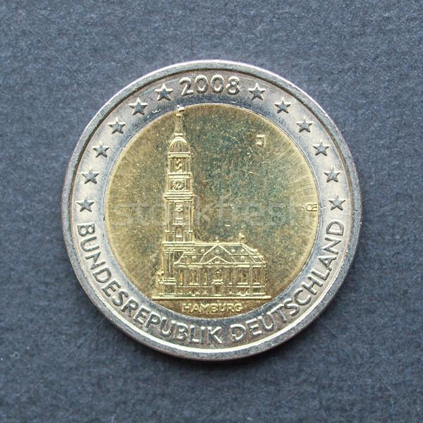 Foto stock: Euro · moedas · dois · moeda · hamburgo · igreja