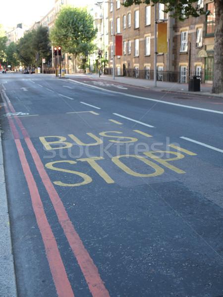 Otobüs durağı imzalamak yol sokak Stok fotoğraf © claudiodivizia