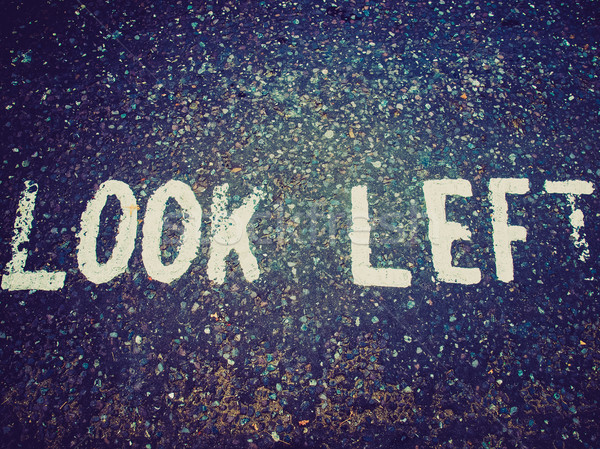 Retro look Look Left sign Stock photo © claudiodivizia