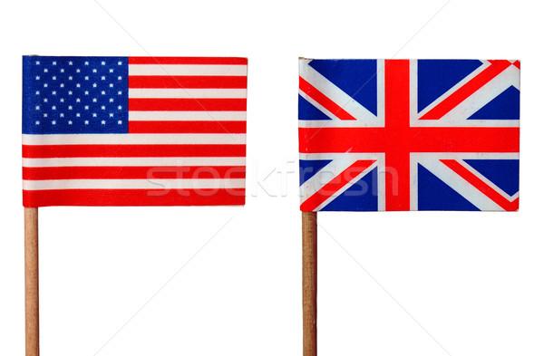 Zdjęcia stock: USA · banderą · flagi · flaga · brytyjska · odizolowany · biały