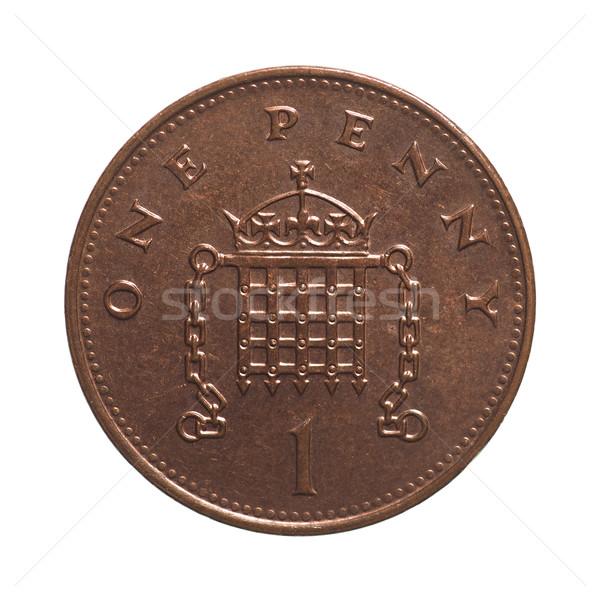один пенни монеты фунт валюта Великобритания Сток-фото © claudiodivizia