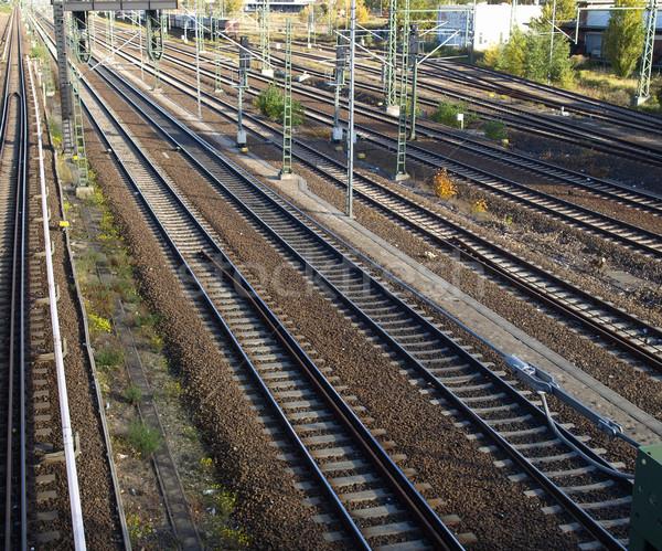 Spoorweg trein vervoer weg stad Stockfoto © claudiodivizia