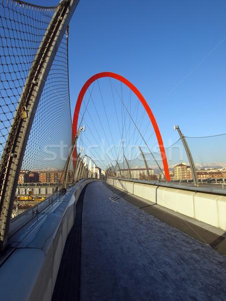 歩行者 橋 トリノ イタリア 青 ストックフォト © claudiodivizia